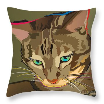 Camouflage Bengal Cat Square Throw Pillow