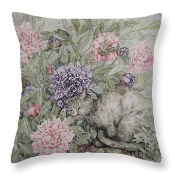 Camouflaged Throw Pillow by Kim Tran