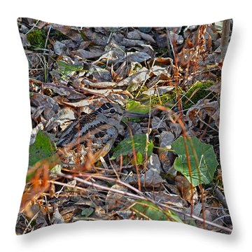 Camouflaged Plumage With Fallen Leaves Throw Pillow