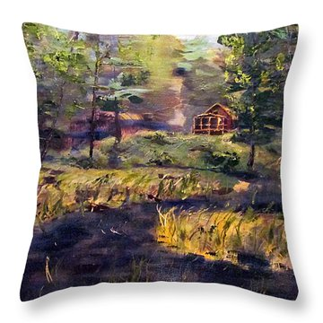 Camp At Efner Lake Brook Throw Pillow