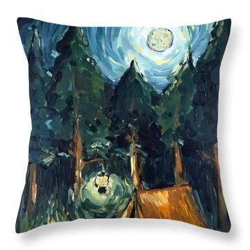 Camp At Night Throw Pillow