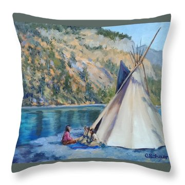 Camp By The Lake Throw Pillow by Connie Schaertl