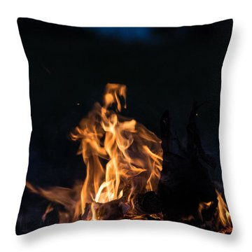 Camp Fire And Full Moon Throw Pillow