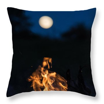 Camp Fire And Full Moon Throw Pillow by Cheryl Baxter