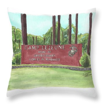 Camp Lejeune Welcome Throw Pillow