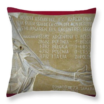 Throw Pillow featuring the photograph Camp Nou 1982 by Juergen Weiss