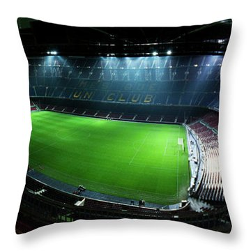 Camp Nou At Night Throw Pillow