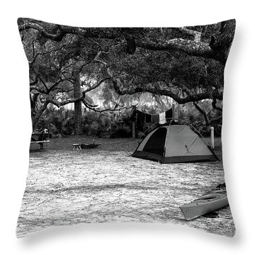 Camp Under Live Oaks Throw Pillow