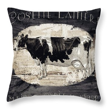Campagne I French Cow Farm Throw Pillow
