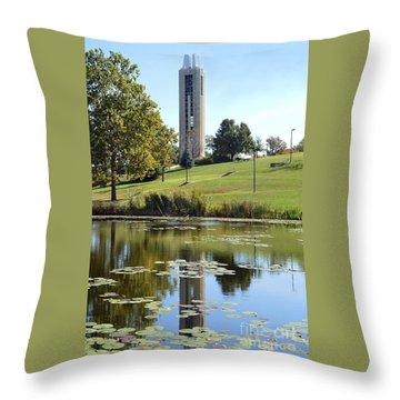 Campanile Reflection In Kansas Throw Pillow