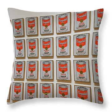 Throw Pillow featuring the photograph Campbell Soup By Warhol by Patricia Hofmeester