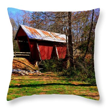 Campbell's Covered Bridge Est. 1909 Throw Pillow
