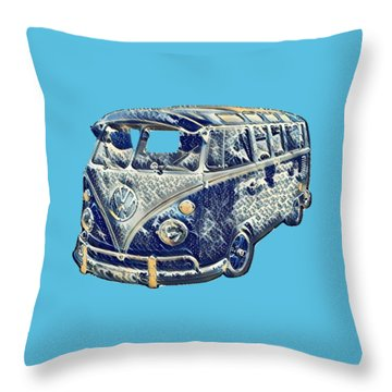 Camper Van Waves Throw Pillow by John Colley