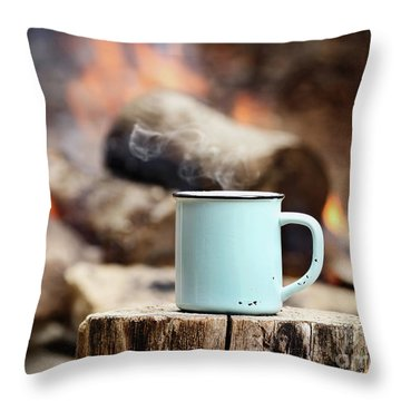Campfire Coffee Throw Pillow