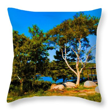 Campfire Lake Throw Pillow