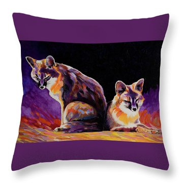 Throw Pillow featuring the painting Campfire Surveillance Team by Bob Coonts