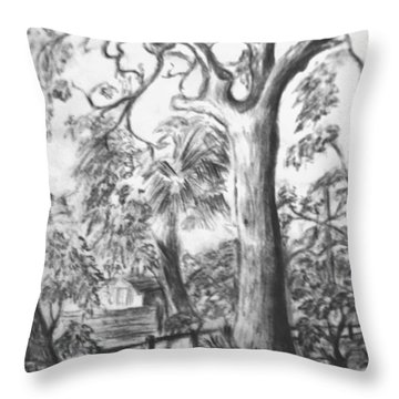 Throw Pillow featuring the drawing Camping Fun by Leanne Seymour