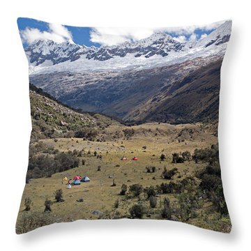 Camping In Huaripampa Valley Throw Pillow by Aivar Mikko