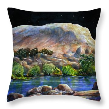 Camping In The Moonlight Throw Pillow