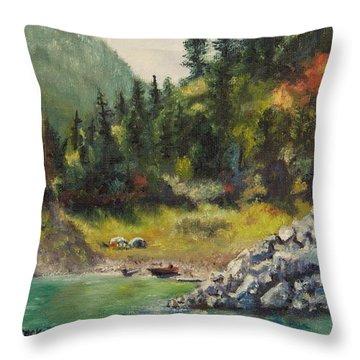 Camping On The Lake Shore Throw Pillow by Lori Brackett
