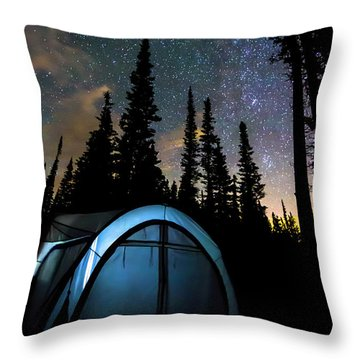 Throw Pillow featuring the photograph Camping Star Light Star Bright by James BO Insogna