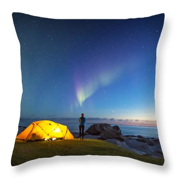 Camping Under The Northern Lights Throw Pillow by Alex Conu