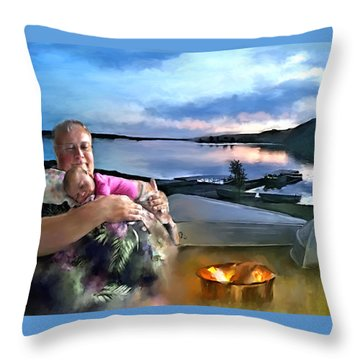 Camping With Grandpa Throw Pillow by Susan Kinney
