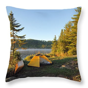 Campsite On Alder Lake Throw Pillow by Larry Ricker