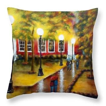 Campus Rain Throw Pillow