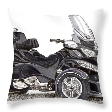 Throw Pillow featuring the painting Can-am Spyder Trike by Jack Pumphrey