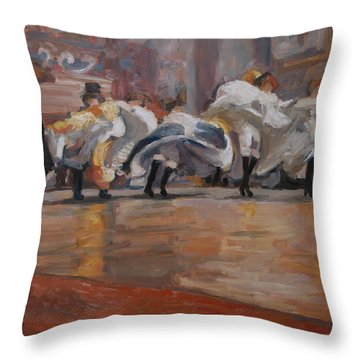 Can Can In The Moulin Rouge Paris Throw Pillow by Nop Briex