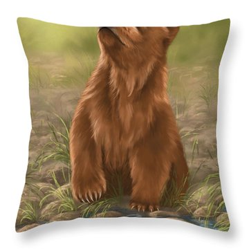 Throw Pillow featuring the painting Can I Dive? by Veronica Minozzi