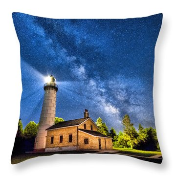 Cana Island Lighthouse Milky Way In Door County Wisconsin Throw Pillow