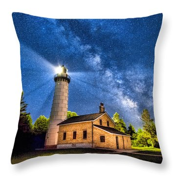 Cana Island Lighthouse Milky Way In Door County Wisconsin Throw Pillow by Christopher Arndt