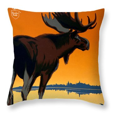 Canada Big Game Vintage Travel Poster Restored Throw Pillow