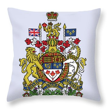 Throw Pillow featuring the drawing Canada Coat Of Arms by Movie Poster Prints