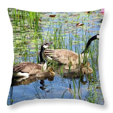 Throw Pillow featuring the photograph Canada Geese Family On Lily Pond by Rose Santuci-Sofranko