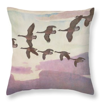 Canada Geese In Spring Throw Pillow