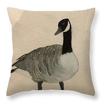 Throw Pillow featuring the painting Canada Goose by Donald Paczynski