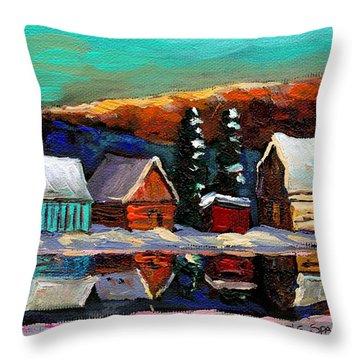 Canadian Art Laurentian Landscape Quebec Winter Scene Throw Pillow by Carole Spandau