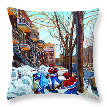 Canadian Art Street Hockey Game Verdun Montreal Memories Winter City Scene Paintings Carole Spandau Throw Pillow