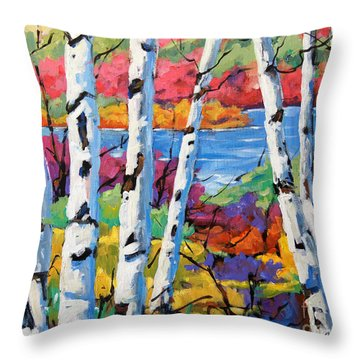 Canadian Birches By Prankearts Throw Pillow by Richard T Pranke