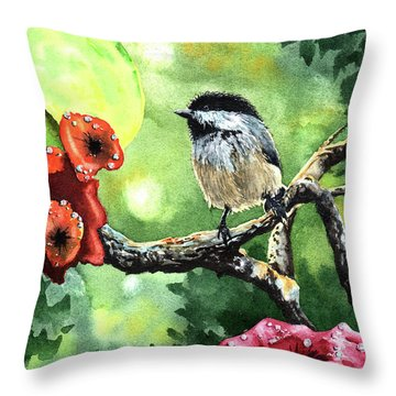Canadian Chickadee Throw Pillow