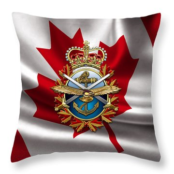 Canadian Forces Emblem Over Flag Throw Pillow by Serge Averbukh