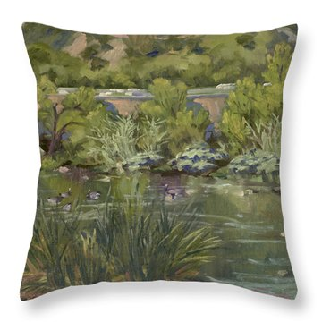 Canadian Geese La River Throw Pillow
