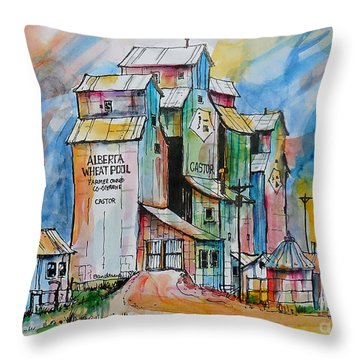 Canadian Grain Elevators Throw Pillow by Terry Banderas