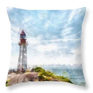 Canadian Lighthouse Throw Pillow by Shirley Stalter