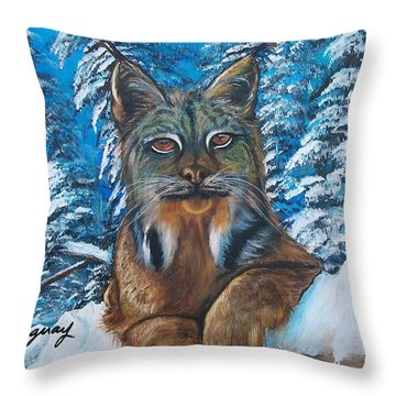 Throw Pillow featuring the painting Canadian Lynx by Sharon Duguay