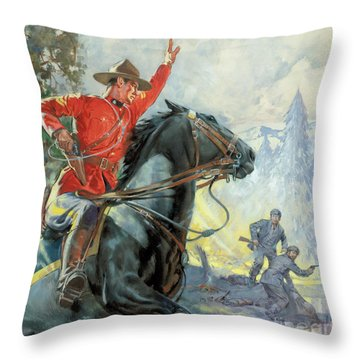 Canadian Mounties Throw Pillow by James Edwin McConnell