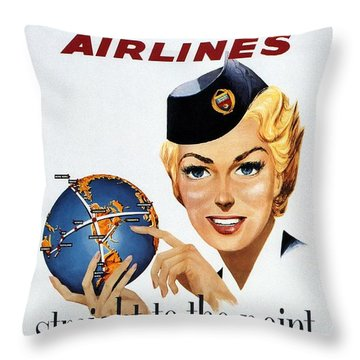 Canadian Pacific Airlines - Straight To The Point - Retro Travel Poster - Vintage Poster Throw Pillow